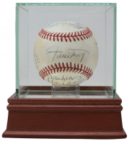 500 Home Run Club OAL Baseball Signed by (12) with Mickey Mantle, Ted Williams, Eddie Murray, Ernie Banks, Willie Mays, Frank Robinson, Reggie Jackson with Display Case (Beckett LOA)