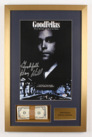 "Henry Hill Signed LE 17x26 Custom Framed Photo Display Inscribed ""Goodfella"" with Replica Prop Money (PSA COA)"
