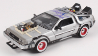 """Christopher Lloyd Signed """"Back to the Future III"""" Delorean Time Machine 1:24 Die-Cast Car (Beckett COA)"""