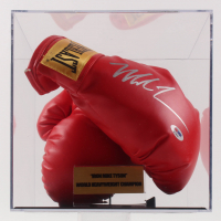 Mike Tyson Signed Everlast Boxing Gloves with Display Case (PSA COA)