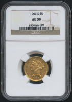1906-S $5 Five Dollars Liberty Head Half Eagle Gold Coin (NGC AU 50) at PristineAuction.com