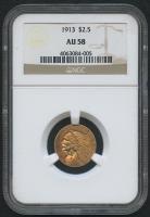 1913 $2.50 Indian Quarter Eagle Gold Coin (NGC AU 58)