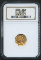 1853 $2.50 Liberty Head Gold Coin (NGC AU 58)