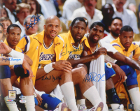 Los Angeles Lakers 16x20 Signed by (5) with Magic Johnson, Mychal Thompson, Byron Scott, James Worthy & Kareem Abdul-Jabbar (Beckett COA & PSA COA) at PristineAuction.com