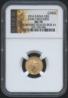 2014 $5 Five Dollars American Gold Eagle Saint-Gaudens - 1/10 Oz Gold Coin - Early Releases - From Mint Sealed Box #1 (NGC MS 70)