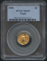 1999 $5 Five Dollars American Gold Eagle Saint-Gaudens - 1/10 Oz Gold Coin (PCGS MS 69) at PristineAuction.com