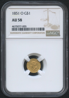1851-O $1 One Dollar Liberty Head Gold Coin (NGC AU 58)
