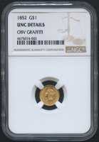 1852 $1 One Dollar Liberty Head Gold Coin (NGC UNC Details)