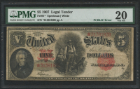 1907 $5 Five Dollars Legal Tender Large Bank Note - PCBLIC Error (PMG 20) at PristineAuction.com