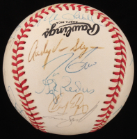 1990 Pittsburgh Pirates ONL Baseball Team-Signed by (21) with Barry Bonds, Jeff Richardson, Andy Van Slyke, Vincent Palacious (JSA ALOA)