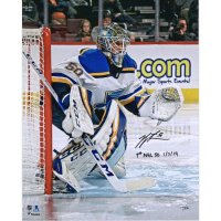 "Jordan Binnington Signed St. Louis Blues 16x20 Photo Inscribed ""1st NHL SO 1/7/19"" (Fanatics Hologram) at PristineAuction.com"