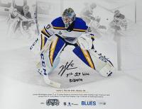 "Jordan Binnington Signed LE St. Louis Blues 11x14 Photo Inscribed ""1st SCF Win 5/29/19"" (Fanatics Hologram) at PristineAuction.com"