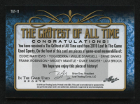 2019 ITG Used Sports The Gr8est of All Time Memorabilia Purple Spectrum #TGT11 Eddie Mathews / Yogi Berra / Willie Stargell / Ernie Banks / Frank Robinson / Mickey Mantle / Duke Snider / Lou Brock at PristineAuction.com