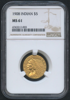 1908 $5 Five Dollars Indian Head Half Eagle Gold Coin (NGC MS 61) at PristineAuction.com