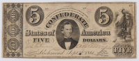 1861 $5 Five Dollars Confederate States of America Richmond CSA Bank Note Bill - T34