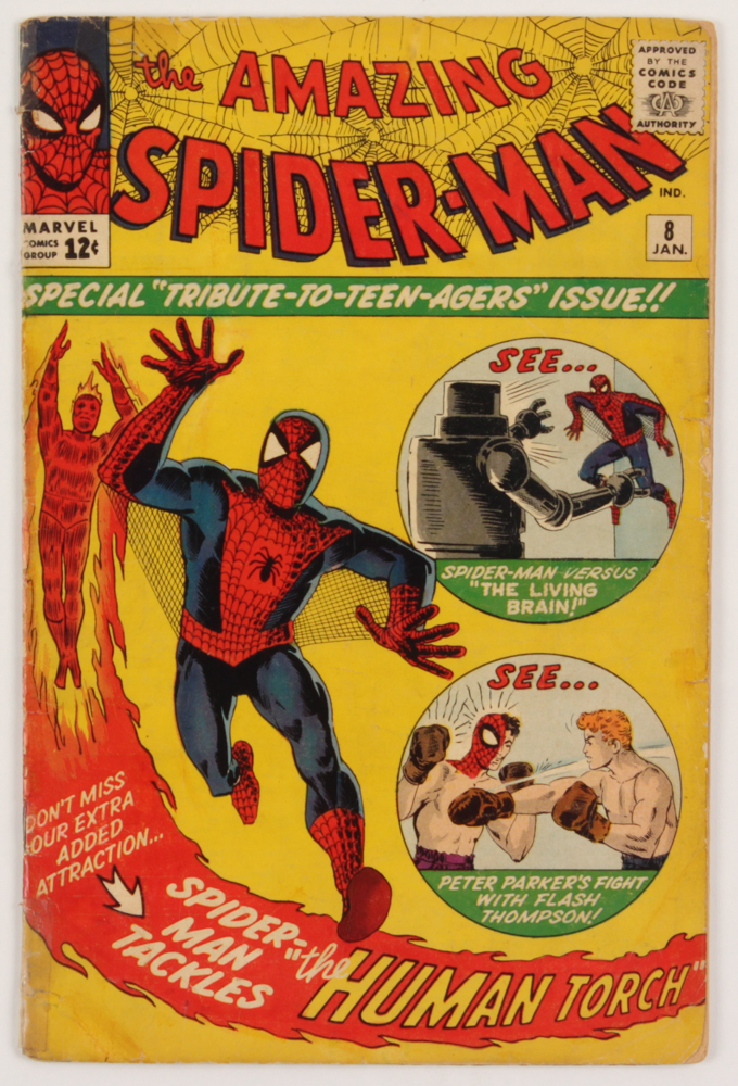 """1964 """"The Amazing Spider-Man"""" Issue #8 Marvel Comic Book at PristineAuction.com"""
