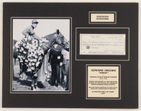 Eddie Arcaro Signed 14x18 Custom Matted Personal Bank Check Display (JSA COA) at PristineAuction.com