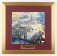 "Margaret Kerry Signed ""Peter Pan"" 17.5x18 Custom Framed Thomas Kinkade Print Display Inscribed ""Tinker Bell"" (JSA COA) at PristineAuction.com"