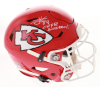 "Travis Kelce Signed Kansas City Chiefs Full-Size Authentic On-Field SpeedFlex Helmet Inscribed ""Chiefs Kingdom!"" (Beckett COA)"