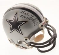 "Tom Landry & Bob Lily Signed Dallas Cowboys Mini Helmet Inscribed ""HOF '80"" (JSA ALOA)"