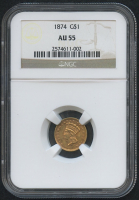 1874 $1 Indian Princess Gold Coin (NGC AU 55) at PristineAuction.com