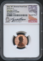 2019-W 1¢ Lincoln Cent - Reverse Proof - First Day of Issue - Union Shield - Lyndall Bass Hand-Signed Label (NGC Reverse PF 70 RD) at PristineAuction.com