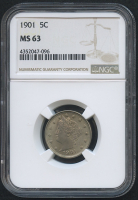 "1901 5¢ Liberty Head ""V"" Nickel (NGC MS 63) at PristineAuction.com"