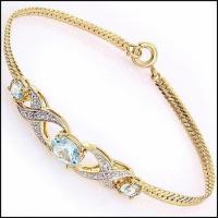 4.27 CT Blue Topaz & Diamond Designer Bracelet