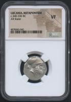 BC 340-330 - Lucania Metapontum - AR Stater Ancient Coin (NGC VF)