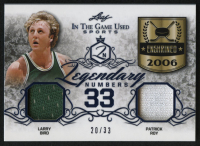 2019 ITG Used Sports Legendary Numbers Dual Memorabilia Navy Blue #LN29 Larry Bird / Patrick Roy at PristineAuction.com