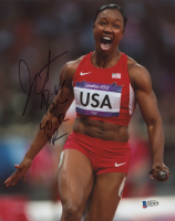 "Carmelita Jeter Signed Team USA 8x10 Photo Inscribed ""10.64 100"" & ""40.12 WR"" (Beckett COA)"