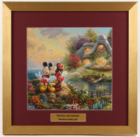 "Thomas Kinkade Walt Disney's ""Mickey & Minnie Mouse"" 17.5x18 Custom Framed Print Display"