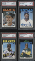 Lot of (4) PSA Graded 8 1986 Topps Traded Baseball Cards with #20T Jose Canseco XRC, #11T Barry Bonds XRC, #24T Will Clark XRC, & #50T Bo Jackson XRC