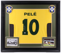 Pele Signed 31.5x36.5 Custom Framed Jersey (PSA COA) at PristineAuction.com