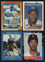 Lot of (4) Assorted Baseball Cards with 1990 Topps #414B Frank Thomas RC, 1989 Topps #343 Gary Sheffield RC, 1988 Donruss #34 Roberto Alomar RC & 1987 Griffey Moeller High School Unauthorized #NNO Ken Griffey Jr.