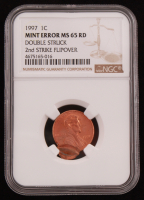 1997 1¢ Lincoln Memorial Penny Mint Error Double Struck (NGC MS 65 RD) at PristineAuction.com