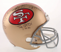 """Joe Montana & Dwight Clark Signed San Francisco 49ers Full-Size Helmet with Original Hand-Drawn Play Inscribed """"The Catch"""" & """"1.10.82"""" (Beckett COA) at PristineAuction.com"""