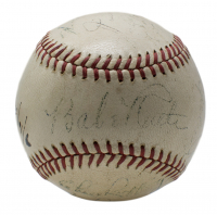 1934 American League All-Stars ONL Baseball Team-Signed by (14) with Babe Ruth, Lou Gehrig, Al Simmons, Bill Dickey, Charlie Gehringer (PSA LOA)