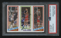 "Julius ""Dr. J"" Erving Signed 1980-81 Topps #176 257 Elvin Hayes / 181 Julius Erving / 258 Ron Brewer (PSA Encapsulated)"