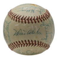 1956 Brooklyn Dodgers ONL Baseball Team-Signed by (22) with Jackie Robinson, Roy Campanella, Don Drysdale, Walter Alston (PSA LOA)