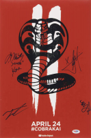 """Cobra Kai"" 12x18 Photo Cast-Signed by (4) with Martin Kove, Xolo Mariduena, Tanner Buchanan & Mary Mouser (PSA LOA) at PristineAuction.com"