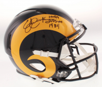 "Eric Dickerson Signed Los Angeles Rams Full-Size Authentic On Field Speed Helmet Inscribed ""HOF 99"" & ""2105 Yds 1984"" (Beckett COA)"
