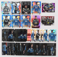 Lot of (56) Jimmie Johnson Racing Insert Cards with  2017 Select Prizms Blue #1, 2017 Select Prizms Blue #2,  2018 Certified Epix Mirror Black #12,  2018 Panini Prizm Prizms Purple Flash #71 GFOR
