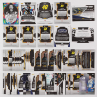 Lot of (56) Jimmie Johnson Racing Insert Cards with  2017 Select Prizms Blue #1, 2017 Select Prizms Blue #2,  2018 Certified Epix Mirror Black #12,  2018 Panini Prizm Prizms Purple Flash #71 GFOR at PristineAuction.com