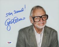 """George Romero Signed 8x10 Photo Inscribed """"Stay Scared!"""" (PSA COA) at PristineAuction.com"""