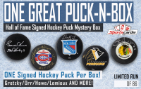 """One Great Puck-N-Box"" – Hall of Fame Signed Hockey Puck Mystery Box at PristineAuction.com"