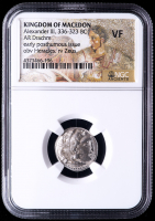 "Alexander III ""The Great"" 336-323 B.C. Kingdom of Macedon AR Drachm Ancient Greek Silver Coin - Mosaic Label (NGC VF)"