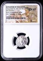 """Alexander III """"The Great"""" 336-323 B.C. Kingdom of Macedon AR Drachm Ancient Greek Silver Coin - Mosaic Label (NGC Ch VF) at PristineAuction.com"""