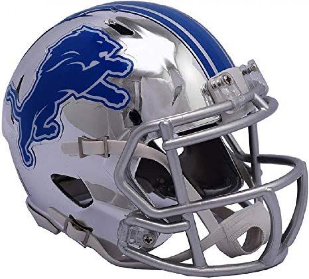 Detroit Lions Full-Size Chrome Speed Helmet at PristineAuction.com
