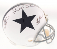 """Troy Aikman, Emmitt Smith & Michael """"Playmaker"""" Irvin Signed Dallas Cowboys Full-Size Authentic On-Field Throwback Helmet (JSA COA)"""